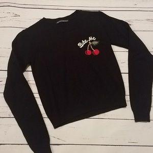 Brandy Melville Bite Me Cherry Sweater XS Black